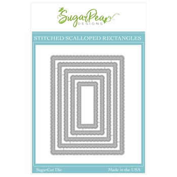 SugarPea Designs STITCHED SCALLOPED RECTANGLES SugarCuts Dies spd00505