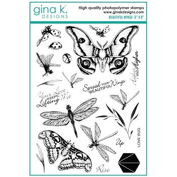 Gina K Designs BEAUTIFUL WINGS Clear Stamps 7399