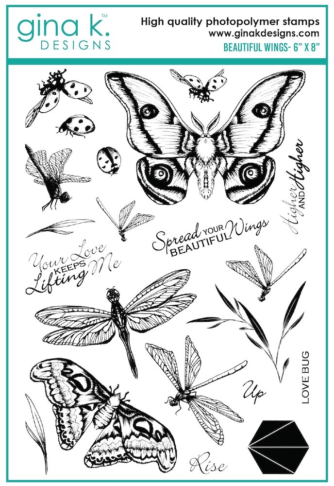Gina K Designs BEAUTIFUL WINGS Clear Stamps 7399 zoom image