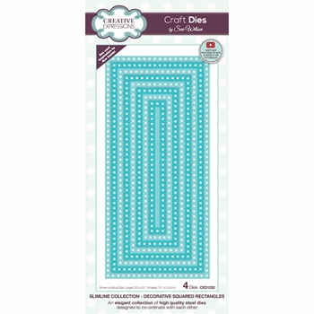 Creative Expressions DECORATIVE SQUARED RECTANGLES Sue Wilson Slimline Dies ced1252