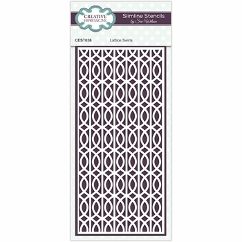 Creative Expressions LATTICE SWIRLS Sue Wilson Slimline Stencil cest036