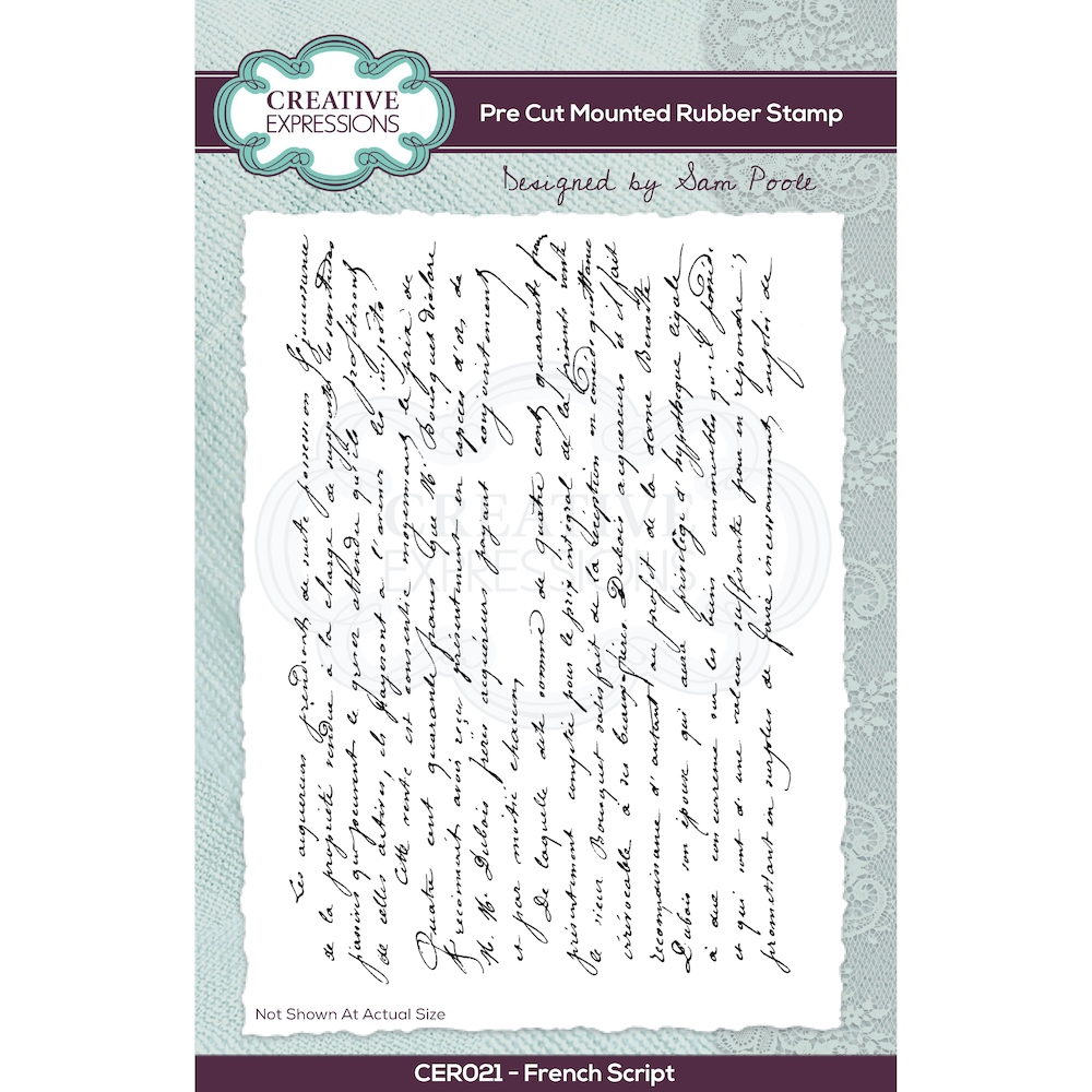 Creative Expressions FRENCH SCRIPT Cling Stamp cer021 zoom image