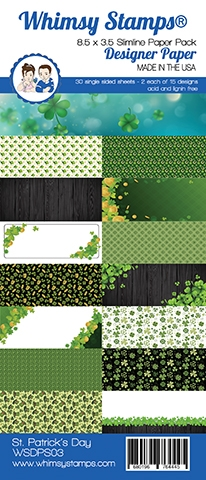 Whimsy Stamps SLIMLINE ST. PATRICK'S DAY 8.5 x 3.5 Paper Pack WSDPS03 ** Preview Image