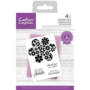 Crafter's Companion BLOSSOMING FLORAL Clear Stamp Set ccstpblflor