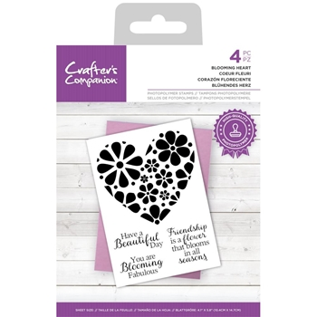 Crafter's Companion BLOOMING HEART Clear Stamp Set ccstpblhea