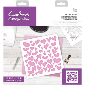 Crafter's Companion FALLING HEARTS Large Stencil ccstenlfall