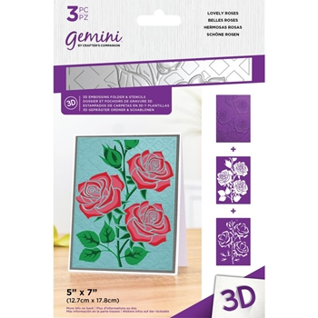 Gemini LOVELY ROSES 3D Embossing Folder And Stencils gemef53dlovr