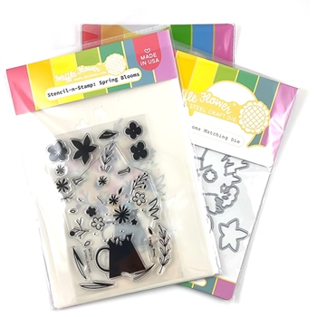 Waffle Flower SPRING BLOOMS Clear Stamps, stencil and Die Combo WFC532