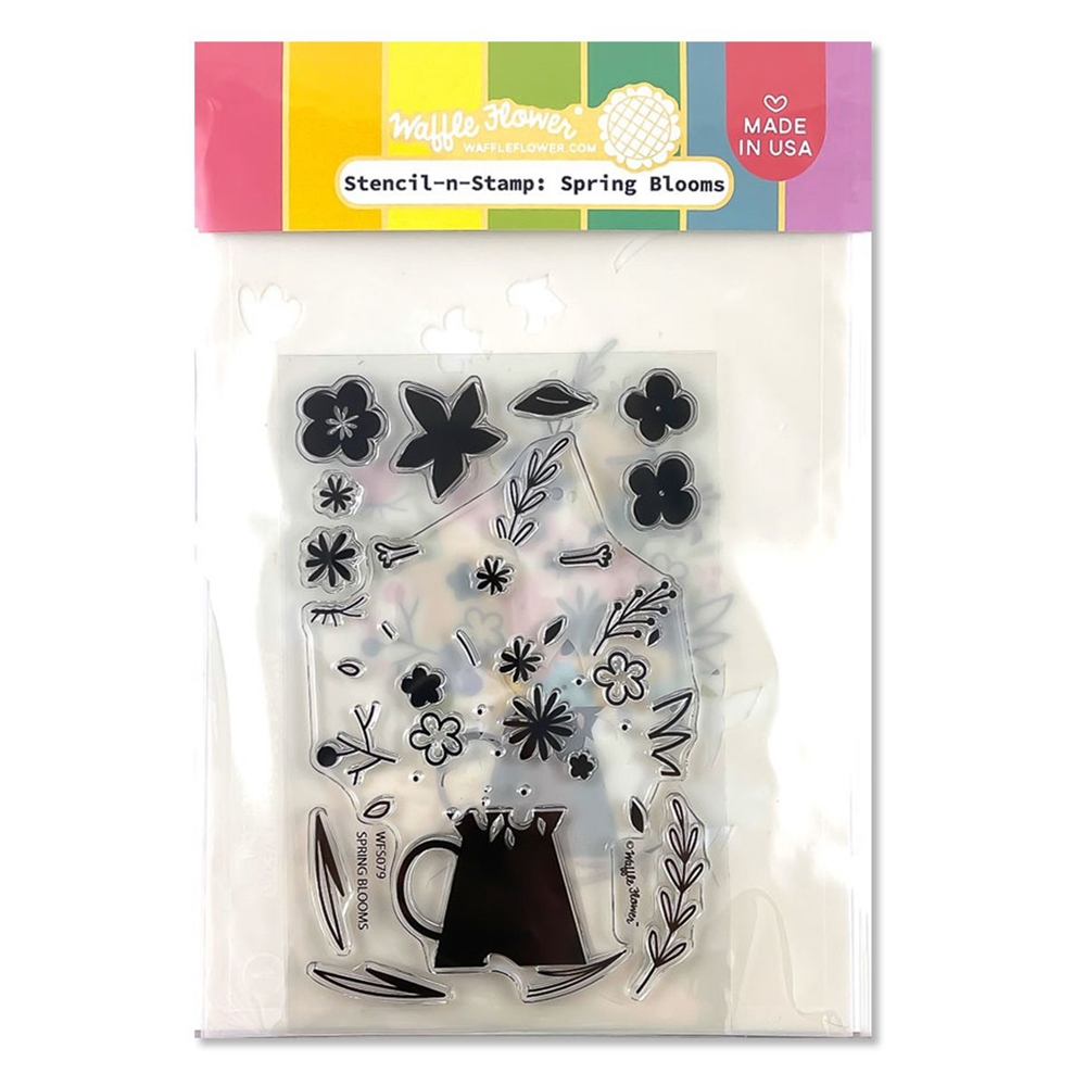 Waffle Flower SPRING BLOOMS Stencil and Stamp WFS079 zoom image