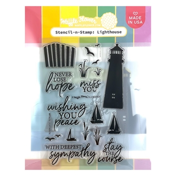 Waffle Flower LIGHTHOUSE Stencil and Stamp WFS078