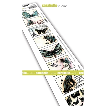 Carabelle Studio 8 LABELS PAPILLONS Edge Cling Stamp sed0043*