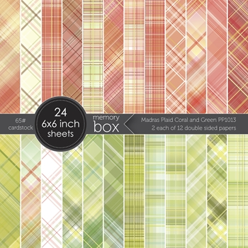 Memory Box MADRAS PLAID CORAL AND GREEN 6x6 Paper Pack pp1013