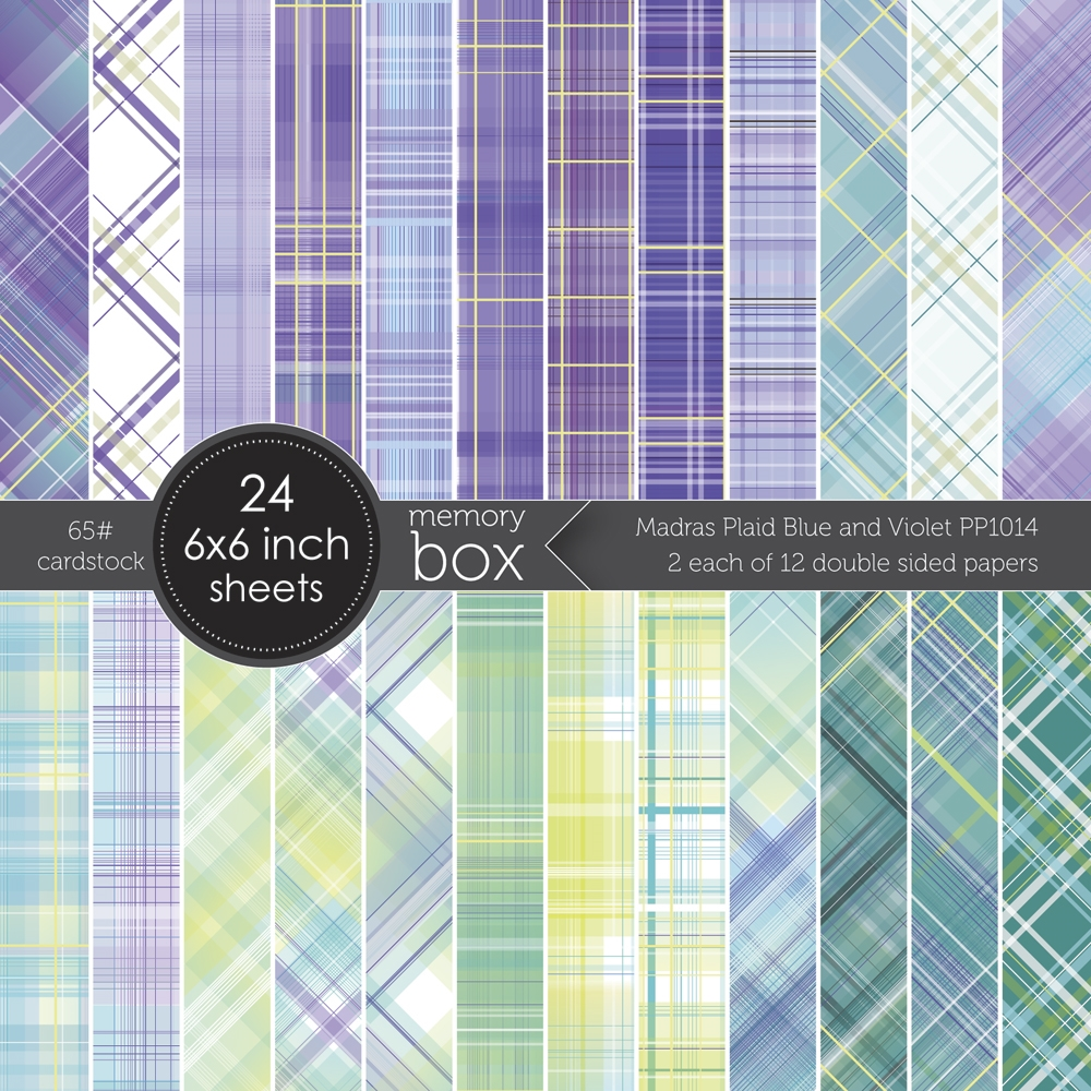 Memory Box MADRAS PLAID BLUE AND VIOLET 6x6 Paper Pack pp1014 zoom image