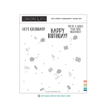 Concord & 9th LET'S PARTY TURNABOUT Clear Stamp Set 11055