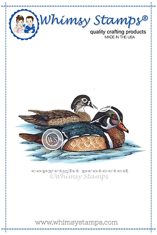 Whimsy Stamps WOODLAND DUCKS Cling Stamp DA1157 zoom image