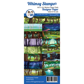 Whimsy Stamps SLIMLINE ENCHANTED FOREST 8.5 x 3.5 Paper Pack WSDPS02