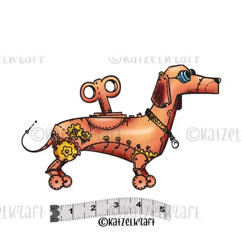 Katzelkraft ROBOT CHIEN Red Rubber Unmounted Stamp MINI111 Preview Image