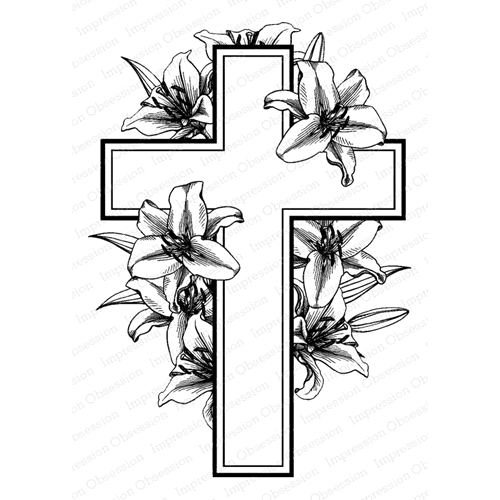 Impression Obsession Cling Stamps CROSS WITH LILIES J5757 Preview Image