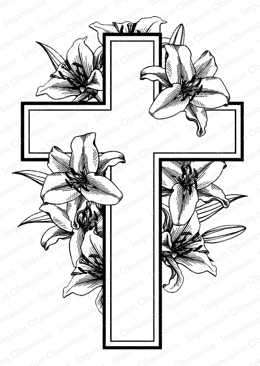 Impression Obsession Cling Stamps CROSS WITH LILIES J5757 zoom image