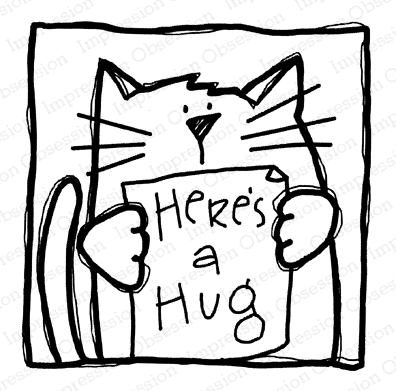 Impression Obsession Cling Stamp KITTY HUGS D21359 Preview Image