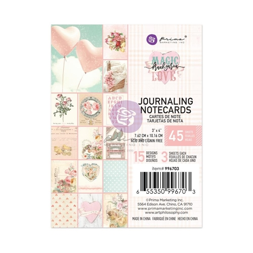 Prima Marketing MAGIC LOVE 3 X 4 Journaling Notecards 996703* Preview Image