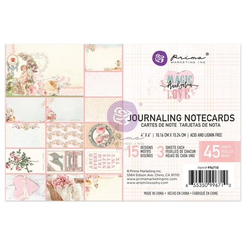 Prima Marketing MAGIC LOVE 4 X 6 Journaling Notecards 996710* Preview Image