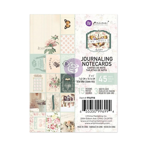 Prima Marketing MY SWEET 3 X 4 Journaling Notecards 996994 Preview Image