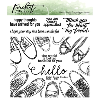 Picket Fence Studios HELLO Clear Stamps s183