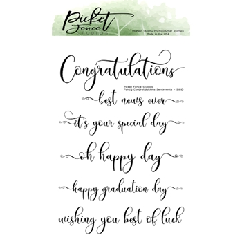 Picket Fence Studios FANCY CONGRATULATIONS SENTIMENTS Clear Stamps s181