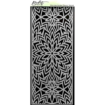 Picket Fence Studios CENTER FLOWER Slim Line Stencil sc235