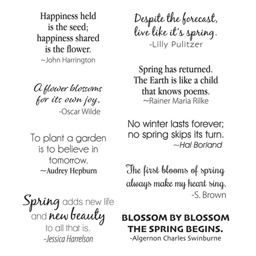 STP 026 Spellbinders SPRING QUOTES Clear Stamps Preview Image