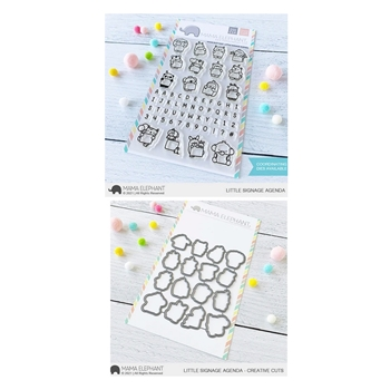 Mama Elephant Clear Stamp and Die mept899 Little Signage Agenda SET