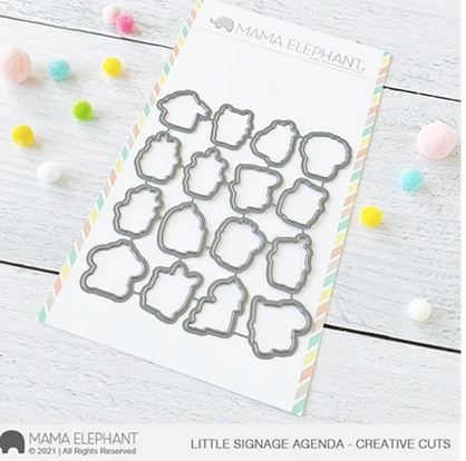 Mama Elephant LITTLE SIGNAGE AGENDA Creative Cuts Steel Dies Preview Image