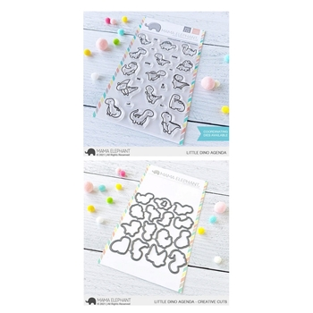 Mama Elephant Clear Stamp and Die MEPT905 Little Dino Agenda SET
