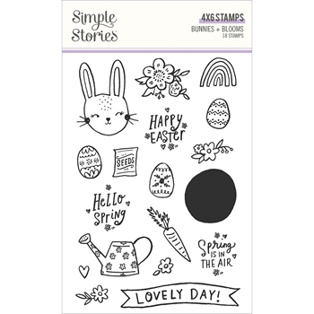 Simple Stories BUNNIES AND BLOOMS Clear Stamp Set 14624*