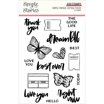 Simple Stories COTTAGE FIELDS Clear Stamp Set 14729*