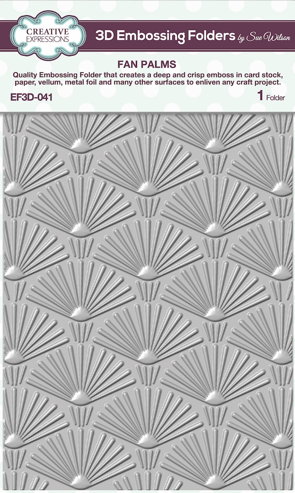 Creative Expressions FAN PALMS 3D Embossing Folder Sue Wilson ef3d041 zoom image