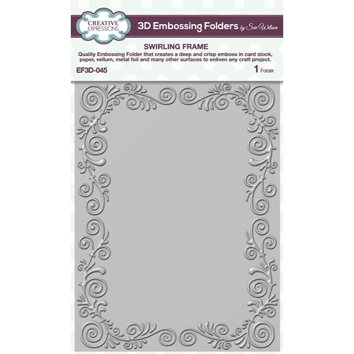 Creative Expressions SWIRLING FRAME 3D Embossing Folder Sue Wilson ef3d045 Preview Image