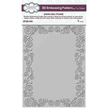 Creative Expressions SWIRLING FRAME 3D Embossing Folder Sue Wilson ef3d045