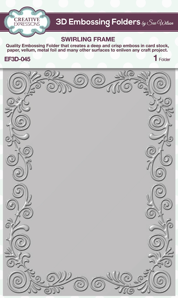 Creative Expressions SWIRLING FRAME 3D Embossing Folder Sue Wilson ef3d045 zoom image
