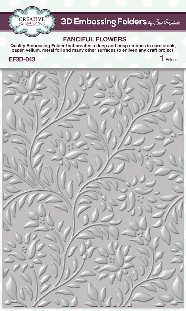 Creative Expressions FANCIFUL FLOWERS 3D Embossing Folder Sue Wilson ef3d043 zoom image