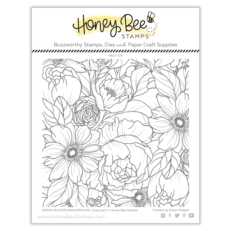 Honey Bee SPRING BLOOMS BACKGROUND Clear Stamp Set hbst324 zoom image