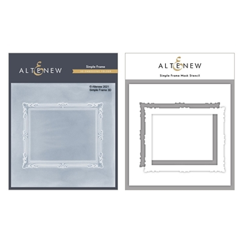 Altenew SIMPLE FRAME 3D Embossing Folder and Mask Stencil Bundle ALT4877