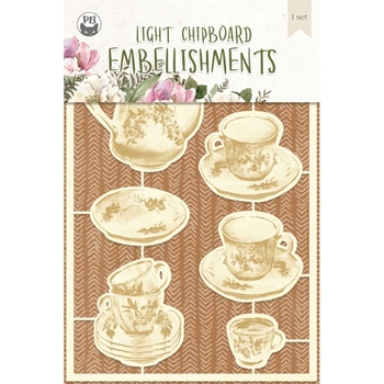 P13 FOREST TEA PARTY Light Chipboard Embellishments P13 FOR 44