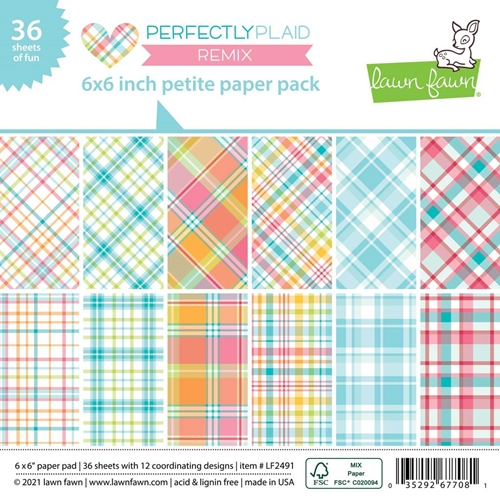 Lawn Fawn PERFECTLY PLAID REMIX 6x6 Inch Petite Paper Pack lf2491 Preview Image