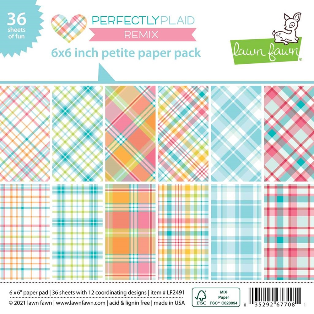 Lawn Fawn PERFECTLY PLAID REMIX 6x6 Inch Petite Paper Pack lf2491 zoom image