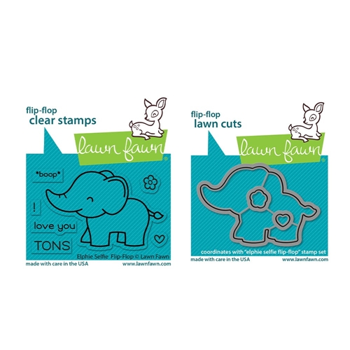 Lawn Fawn SET ELPHIE SELFIE FLIP-FLOP Clear Stamps and Dies lfeff Preview Image
