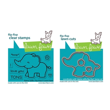 Lawn Fawn SET ELPHIE SELFIE FLIP-FLOP Clear Stamps and Dies lfeff