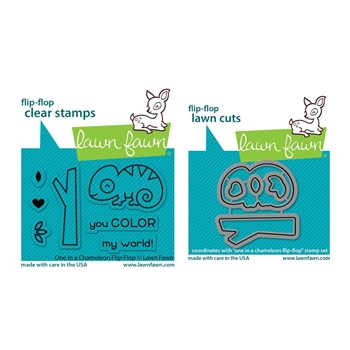 Lawn Fawn SET ONE IN A CHAMELEON FLIP-FLOP Clear Stamps and Dies lfcff