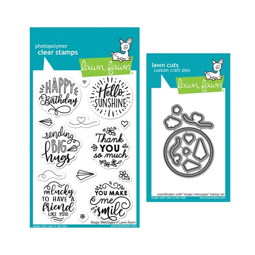 Lawn Fawn SET MAGIC MESSAGES Clear Stamps and Dies lfmm Preview Image